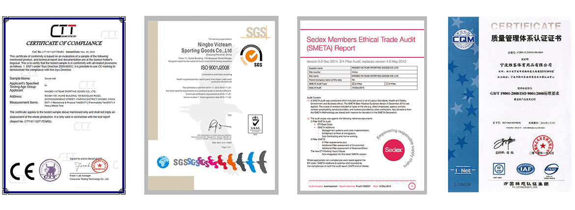 Certificates of Victeam Sports